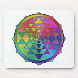 Psychedelic Rainbow Sri Yantra for Prosperity Mouse Pad