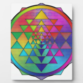 Psychedelic Rainbow Sri Yantra for Prosperity Plaque