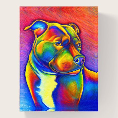 Psychedelic Rainbow Staffy Dog Paperweight