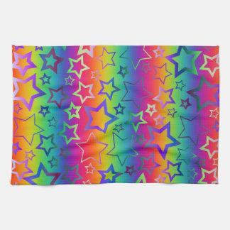Psychedelic Rainbow Stars Pattern Kitchen Towel