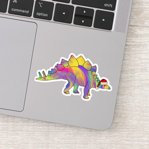 Psychedelic Rainbow Stegosaurus Festive Dinosaur  Sticker