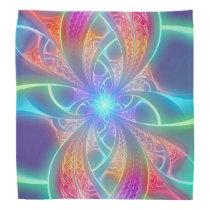 Psychedelic Rainbow Swirls Fractal Pattern Bandana