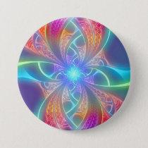 Psychedelic Rainbow Swirls Fractal Pattern Button