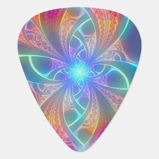 Psychedelic Rainbow Swirls Fractal Pattern Guitar Pick