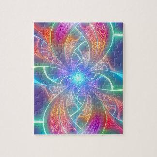 Psychedelic Rainbow Swirls Fractal Pattern Jigsaw Puzzle