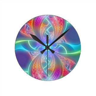 Psychedelic Rainbow Swirls Fractal Pattern Round Clock