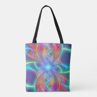 Psychedelic Rainbow Swirls Fractal Pattern Tote Bag