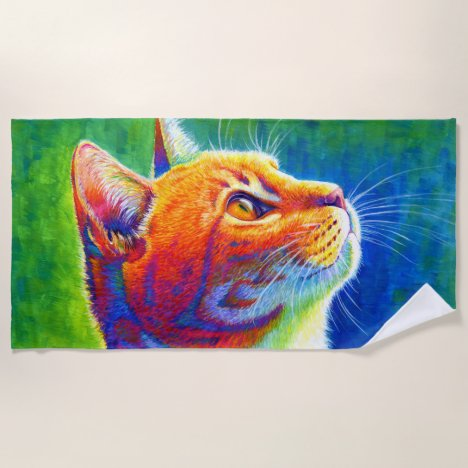 Psychedelic Rainbow Tabby Cat Beach Towel