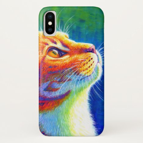 Psychedelic Rainbow Tabby Cat Casemate Case
