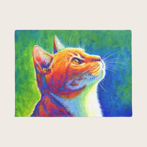 Psychedelic Rainbow Tabby Cat Door Mat