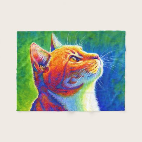Psychedelic Rainbow Tabby Cat Fleece Blanket