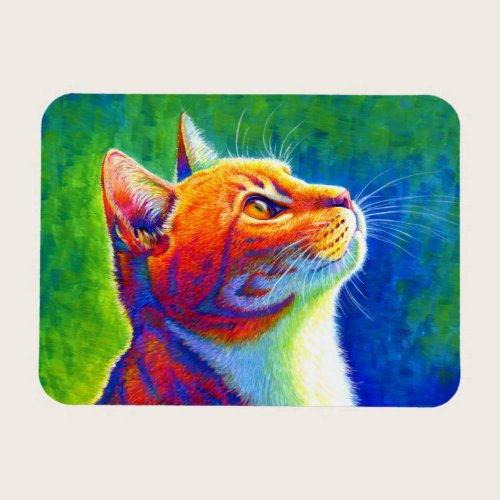 Psychedelic Rainbow Tabby Cat Flexible Magnet