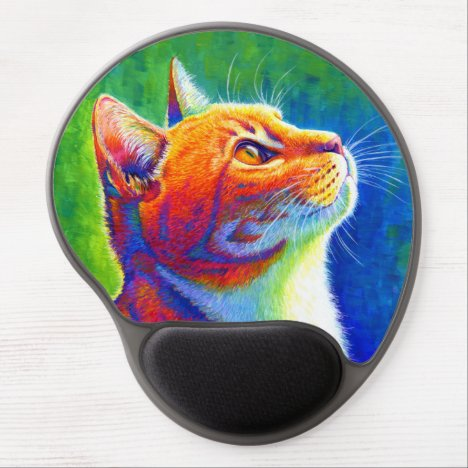 Psychedelic Rainbow Tabby Cat Gel Mousepad
