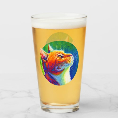 Psychedelic Rainbow Tabby Cat Glass Cup