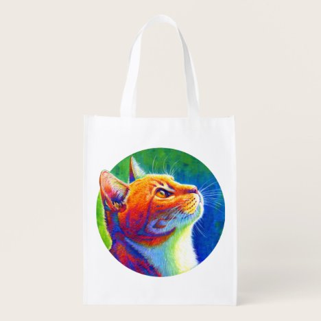 Psychedelic Rainbow Tabby Cat Grocery Bag