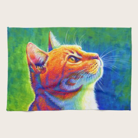 Psychedelic Rainbow Tabby Cat Kitchen Towels
