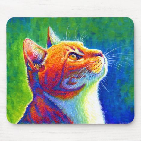 Psychedelic Rainbow Tabby Cat Mouse pad