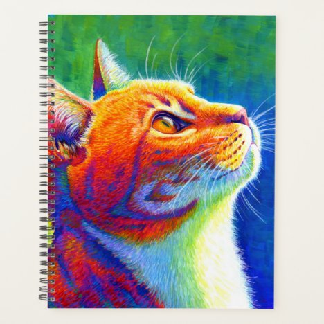 Psychedelic Rainbow Tabby Cat Planner