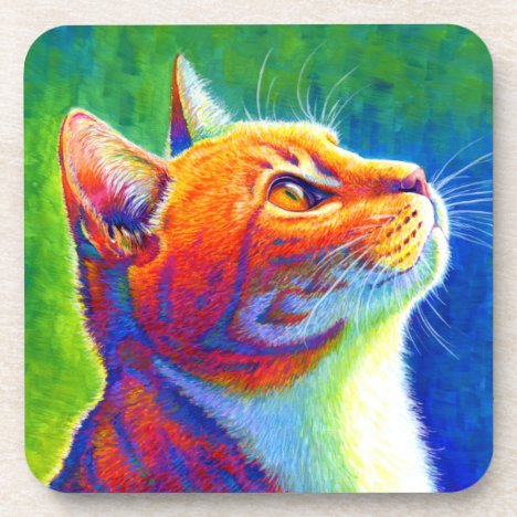 Psychedelic Rainbow Tabby Cat Plastic Coasters