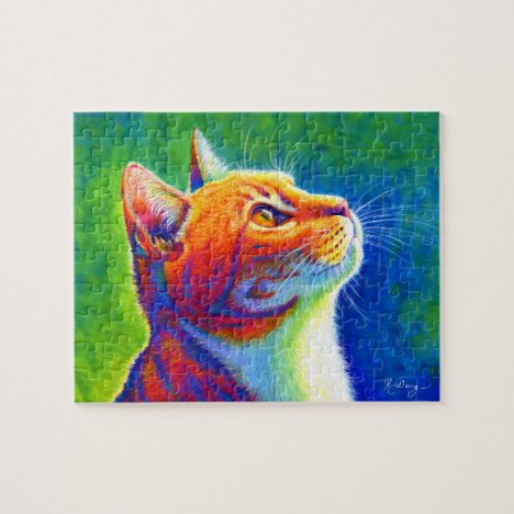 Psychedelic Rainbow Tabby Cat Puzzle