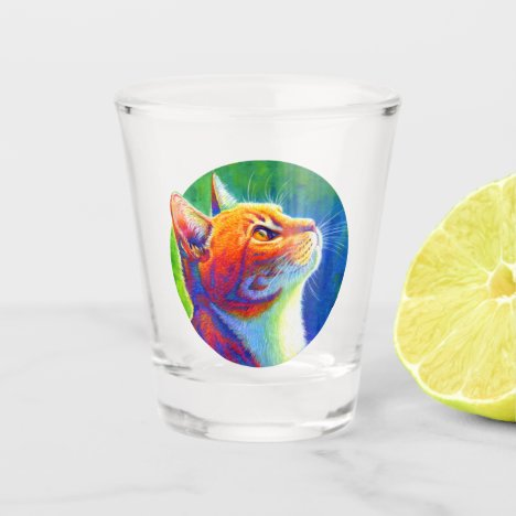 Psychedelic Rainbow Tabby Cat Shot Glass