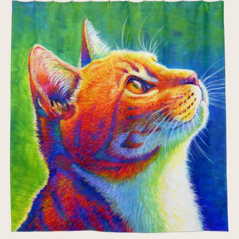 Psychedelic Rainbow Tabby Cat Shower Curtain