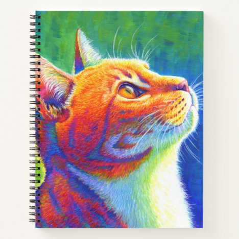 Psychedelic Rainbow Tabby Cat Spiral Notebook