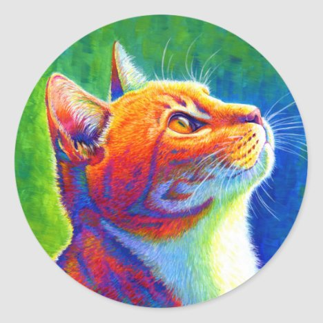 Psychedelic Rainbow Tabby Cat Stickers
