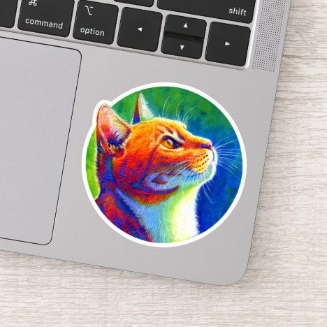 Psychedelic Rainbow Tabby Cat Vinyl Sticker