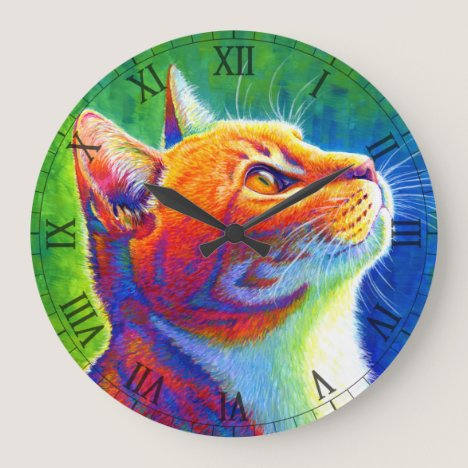 Psychedelic Rainbow Tabby Cat Wall Clock