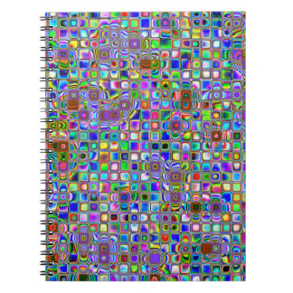 Psychedelic Rainbow Textured Mosaic Tiles Pattern Notebook