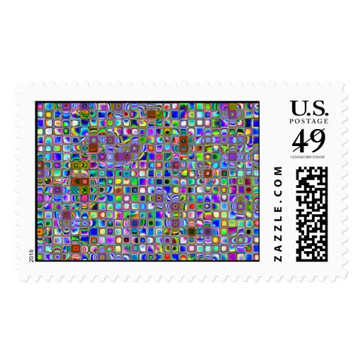 Psychedelic Rainbow Textured Mosaic Tiles Pattern Postage