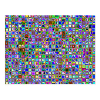 Psychedelic Rainbow Textured Mosaic Tiles Pattern Postcard