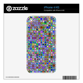 Psychedelic Rainbow Textured Mosaic Tiles Pattern iPhone 4S Decals