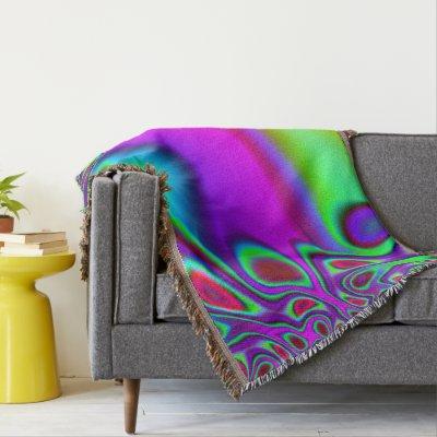 Psychedelic Rainbow Throw Blanket