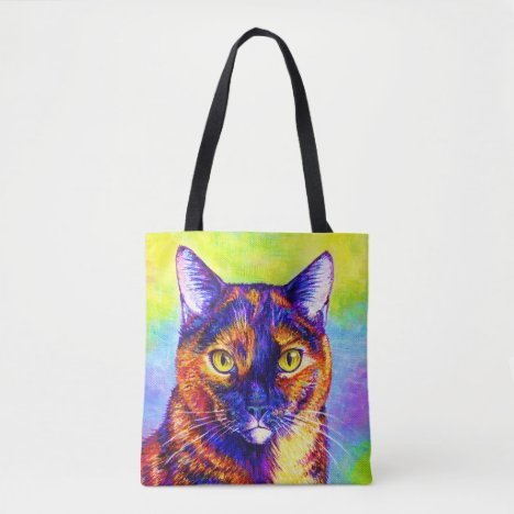 Psychedelic Rainbow Tortoiseshell Cat Tote Bag
