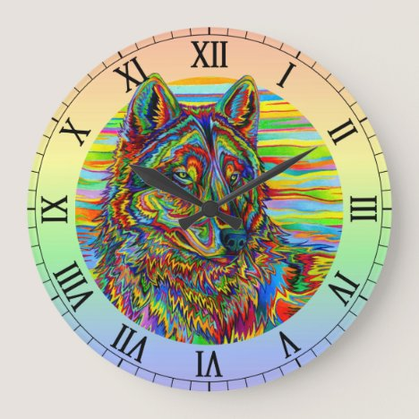 Psychedelic Rainbow Trippy Wolf Wall Clock