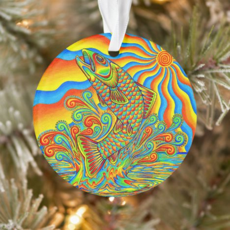 Psychedelic Rainbow Trout Fish Acrylic Ornament