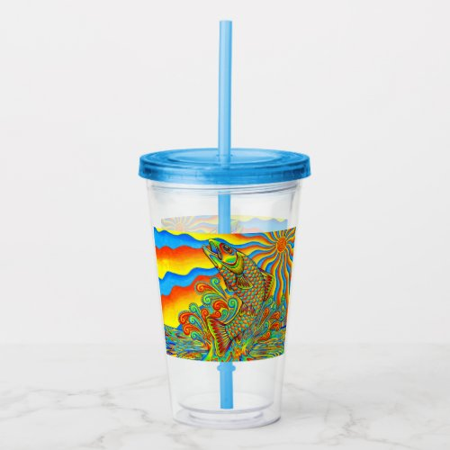 Psychedelic Rainbow Trout Fish Acrylic Tumbler