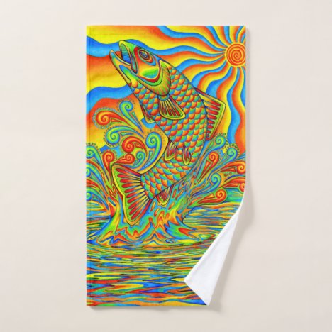 Psychedelic Rainbow Trout Fish bath towel set