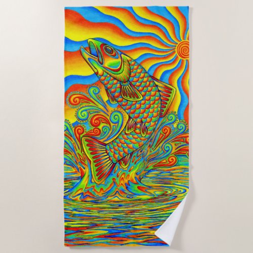 Psychedelic Rainbow Trout Fish Beach Towel