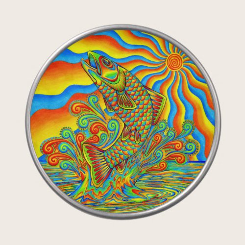 Psychedelic Rainbow Trout Fish Candy Tin