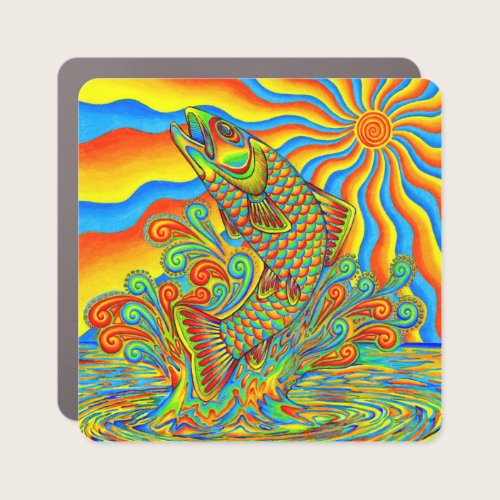 Psychedelic Rainbow Trout Fish Car Magnet