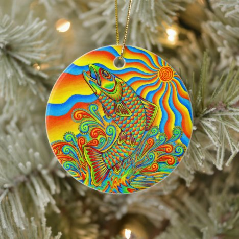 Psychedelic Rainbow Trout Fish Ceramic Ornament