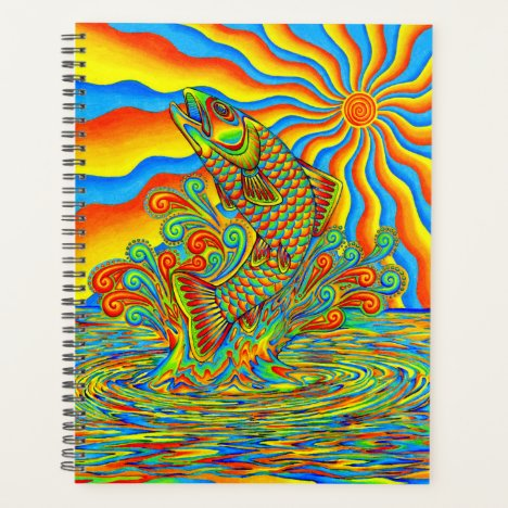 Psychedelic Rainbow Trout Fish Colorful Planner