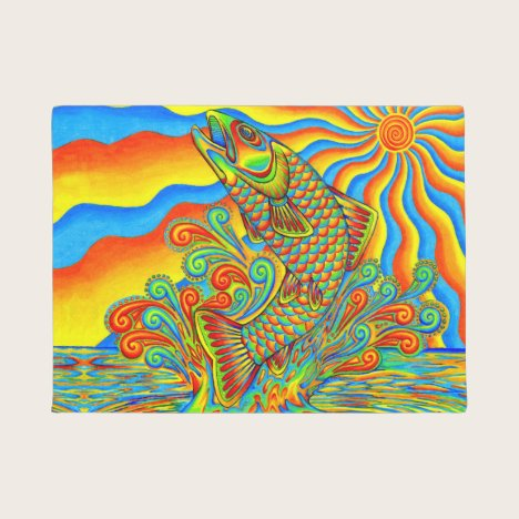 Psychedelic Rainbow Trout Fish Door Mat