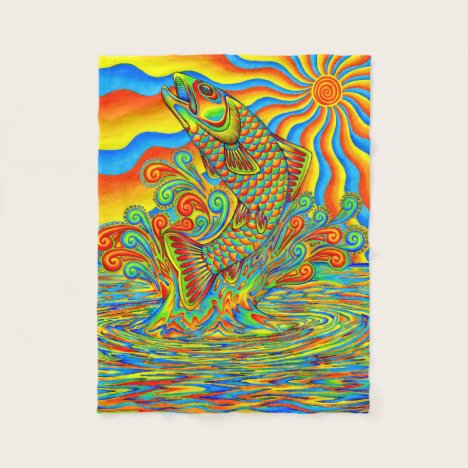 Psychedelic Rainbow Trout Fish Fleece Blanket