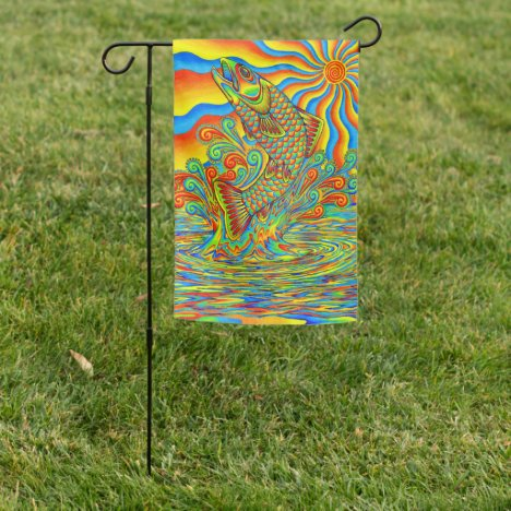Psychedelic Rainbow Trout Fish Garden Flag