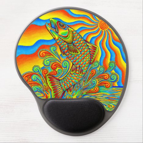 Psychedelic Rainbow Trout Fish Gel Mousepad