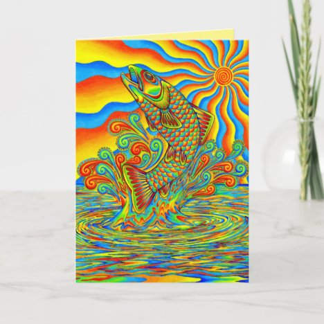 Psychedelic Rainbow Trout Fish Greeting Card